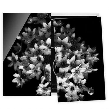Herdabdeckplatte Glas - Dunkler Clematis Strauß - 52x60cm