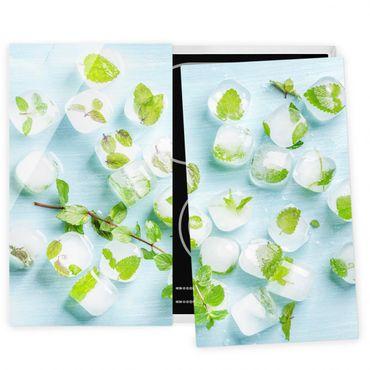 Herdabdeckplatte Glas - Eiswürfel mit Minzblättern