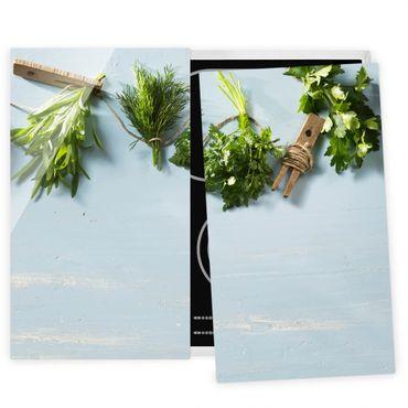 Herdabdeckplatte Glas - Gebündelte Kräuter