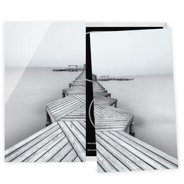 Herdabdeckplatte Glas - Hölzerner Pier und Schwarz-weiß - 52x60cm