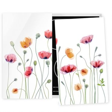 Herdabdeckplatte Glas - Klatschmohn Party - 52x60cm