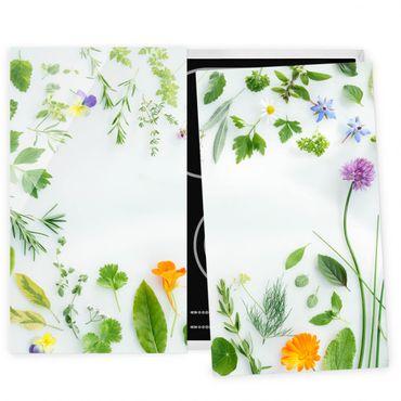Herdabdeckplatte Glas - Kräuter und Blüten