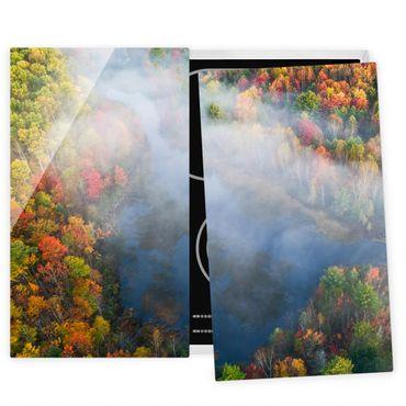 Herdabdeckplatte Glas - Luftbild - Herbst Symphonie - 52x60cm