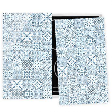 Herdabdeckplatte Glas - Musterfliesen Blau Weiß