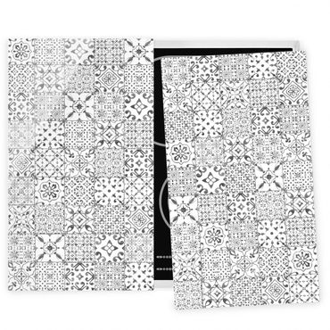 Herdabdeckplatte Glas - Musterfliesen Grau Weiß