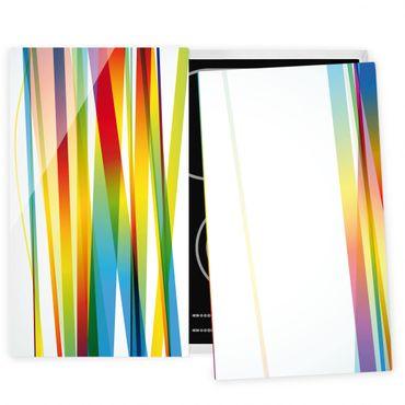 Herdabdeckplatte Glas - Rainbow Stripes