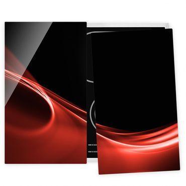 Herdabdeckplatte Glas - Red Wave