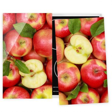 Herdabdeckplatte Glas - Saftige Äpfel