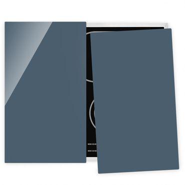 Herdabdeckplatte Glas - Schieferblau