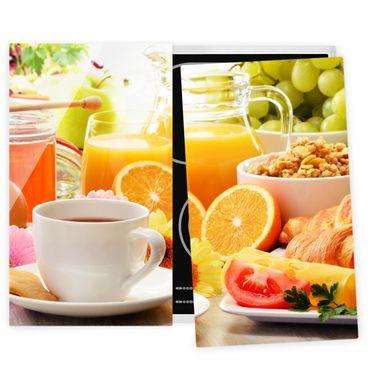Herdabdeckplatte Glas - Sommerlicher Frühstückstisch