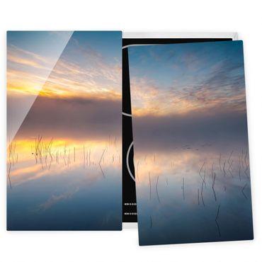 Herdabdeckplatte Glas - Sonnenaufgang schwedischer See - 52x60cm