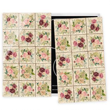 Herdabdeckplatte Glas - Vintage Rosen und Hortensien