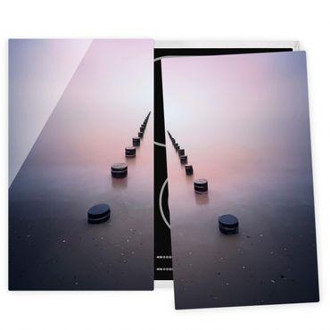 Herdabdeckplatte Glas - Zen am Strand - 52x60cm