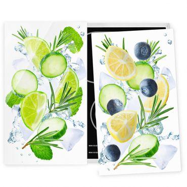 Herdabdeckplatte Glas - Zitrusfrucht trifft Gurke Eiswürfel Splash