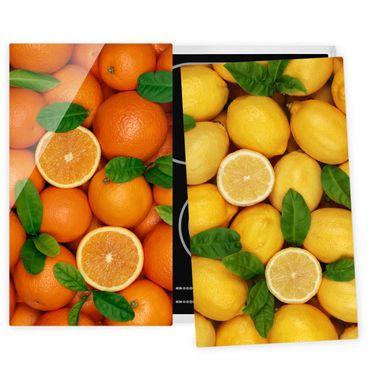 Herdabdeckplatte Glas - Zitrusfrüchte