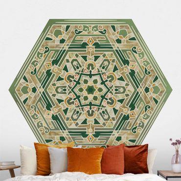 Hexagon Mustertapete selbstklebend - Hexagonales Mandala in Grün mit Gold