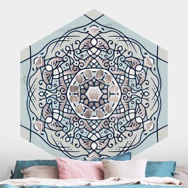 Hexagon Mustertapete selbstklebend - Hexagonales Mandala in Hellblau
