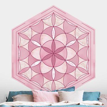 Hexagon Mustertapete selbstklebend - Hexagonales Mandala in Rosa