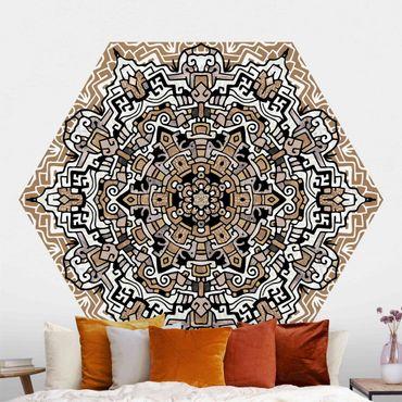 Hexagon Mustertapete selbstklebend - Hexagonales Mandala mit Details