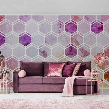 Metallic Tapete  - Hexagonträume Aquarell in Beere