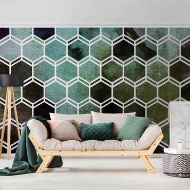 Metallic Tapete  - Hexagonträume Aquarell in Grün