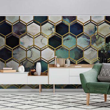 Metallic Tapete  - Hexagonträume Aquarell mit Gold