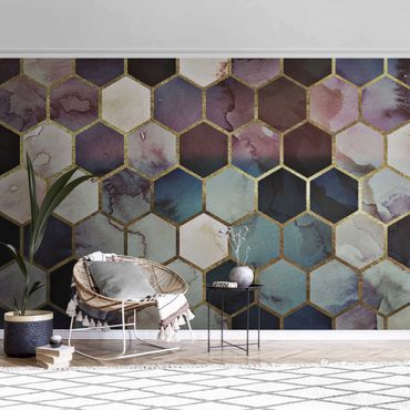 Metallic Tapete  - Hexagonträume Aquarell Muster