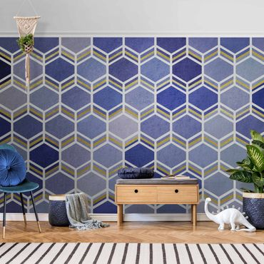 Metallic Tapete  - Hexagonträume Muster in Indigo