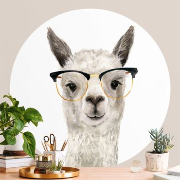 Runde Tapete selbstklebend - Hippes Lama mit Brille I