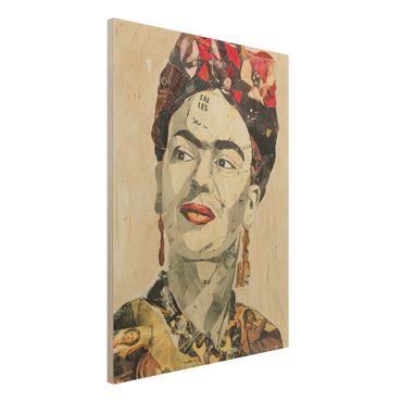 Holzbild -Frida Kahlo - Collage No.2- Hochformat 3:4