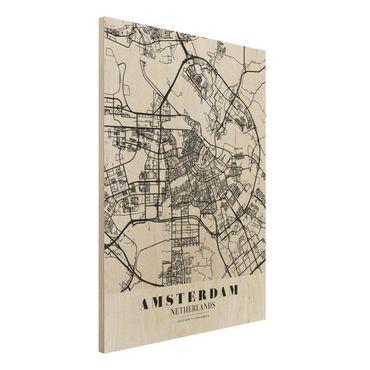 Holzbild -Stadtplan Amsterdam - Klassik- Hochformat 3:4