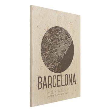 Holzbild -Stadtplan Barcelona - Retro- Hochformat 3:4