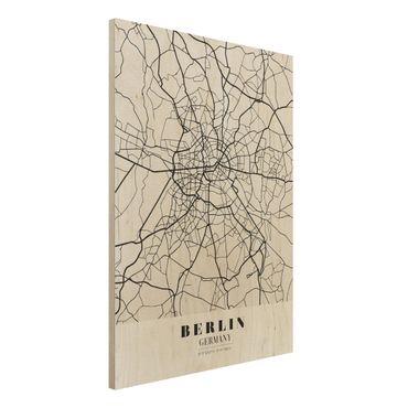 Holzbild -Stadtplan Berlin - Klassik- Hochformat 3:4