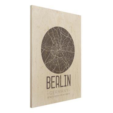 Holzbild -Stadtplan Berlin - Retro- Hochformat 3:4