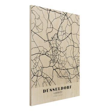 Holzbild -Stadtplan Düsseldorf - Klassik- Hochformat 3:4