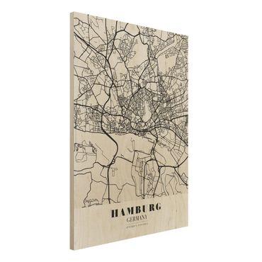 Holzbild -Stadtplan Hamburg - Klassik- Hochformat 3:4