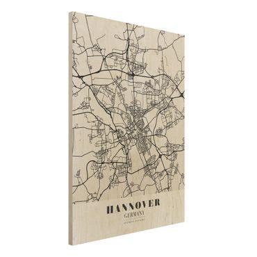 Holzbild -Stadtplan Hannover - Klassik- Hochformat 3:4
