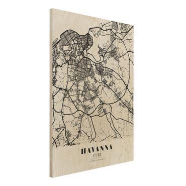 Holzbild -Stadtplan Havanna - Klassik- Hochformat 3:4