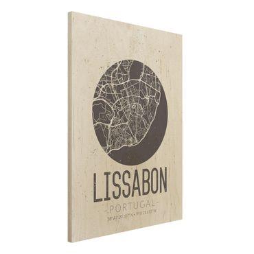Holzbild -Stadtplan Lissabon - Retro- Hochformat 3:4