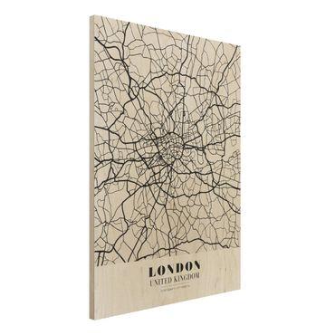 Holzbild -Stadtplan London - Klassik- Hochformat 3:4
