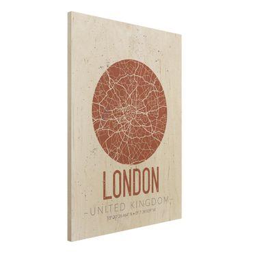 Holzbild -Stadtplan London - Retro- Hochformat 3:4