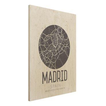 Holzbild -Stadtplan Madrid - Retro- Hochformat 3:4