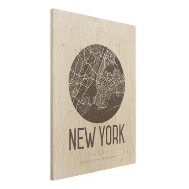 Holzbild -Stadtplan New York - Retro- Hochformat 3:4