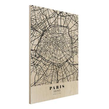 Holzbild -Stadtplan Paris - Klassik- Hochformat 3:4