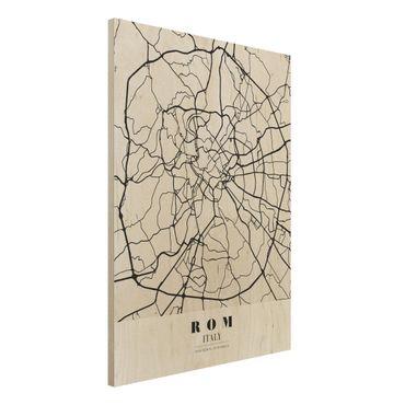 Holzbild -Stadtplan Rom - Klassik- Hochformat 3:4