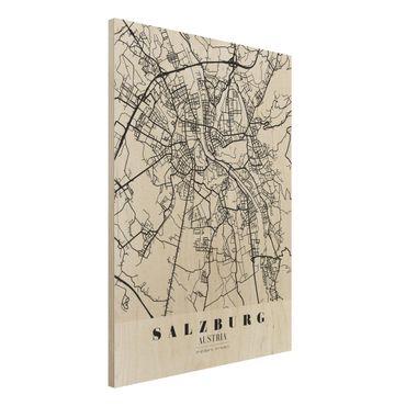 Holzbild -Stadtplan Salzburg - Klassik- Hochformat 3:4