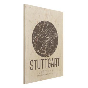 Holzbild -Stadtplan Stuttgart - Retro- Hochformat 3:4