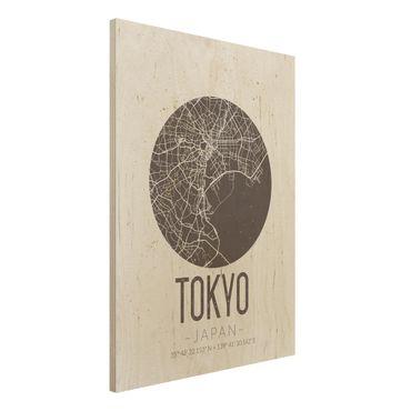 Holzbild -Stadtplan Tokyo - Retro- Hochformat 3:4
