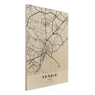 Holzbild -Stadtplan Venice - Klassik- Hochformat 3:4