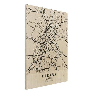 Holzbild -Stadtplan Vienna - Klassik- Hochformat 3:4